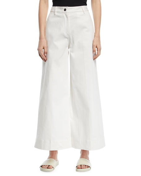 Ace Wide-Leg Ankle-Length Denim Pants