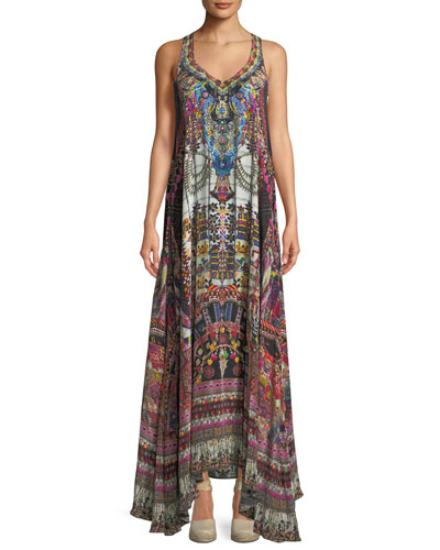 V-Neck Sleeveless Printed Silk Dress