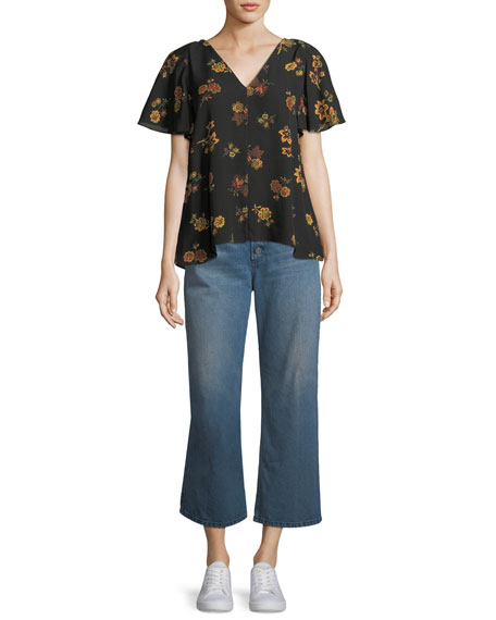 Clara V-Neck Floral-Print Silk Top
