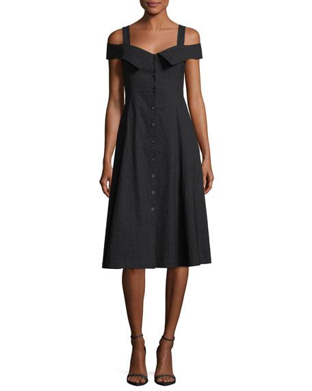 Hudson Button-Front Linen-Blend Midi Dress