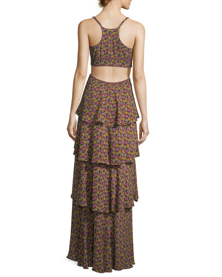 Titus Tiered Open-Waist Silk Maxi Dress