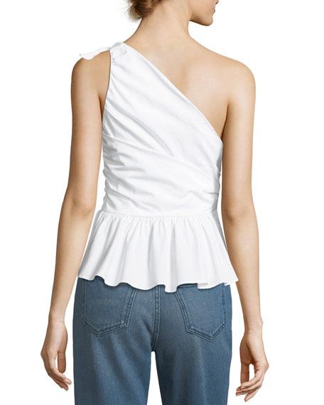 Soraya One-Shoulder Draped Cotton Top