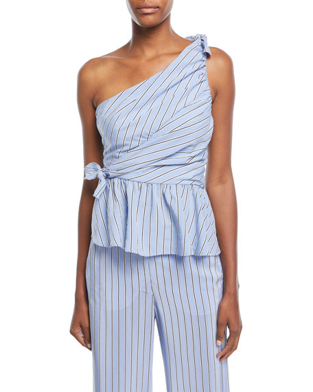 Soraya One-Shoulder Gathered Striped Top