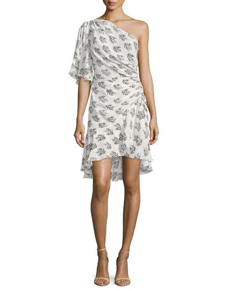 Misha One-Shoulder Ruched Floral-Print Silk Dress