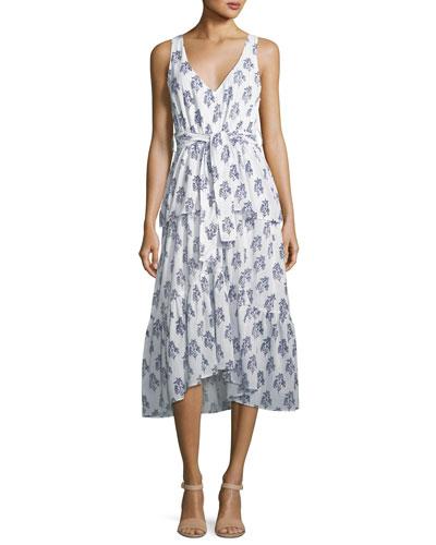 Judd V-Neck Sleeveless Belted Tiered Cotton Dress