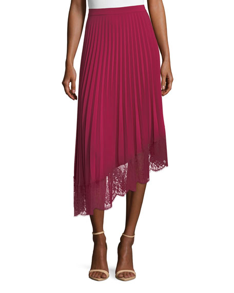 Claude A-Line Pleated Skirt With Lace Hem, Pink from LastCall.com