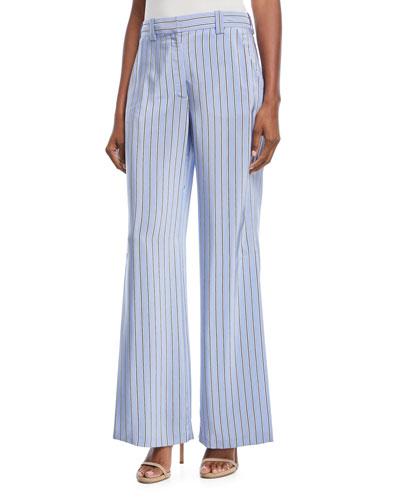 Miles Shadow-Striped Wide-Leg Pants