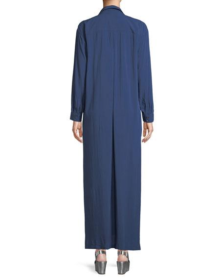 Faye Long-Sleeve Button-Front Maxi Dress
