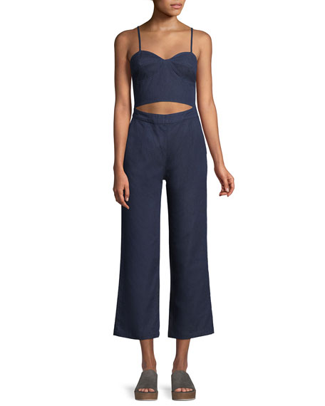Peek-a-Boo Cutout-Waist Flared Crop Denim Jumpsuit