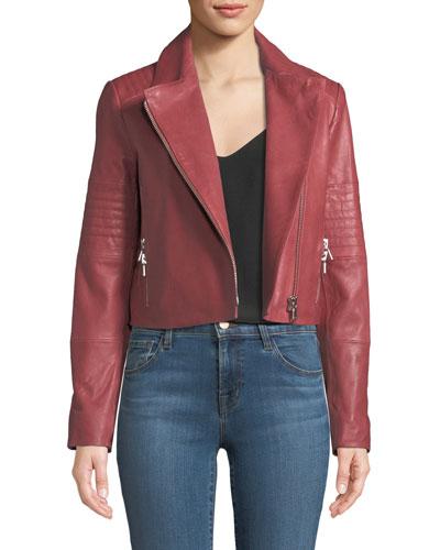 Aiah Zip-Front Lamb Leather Jacket