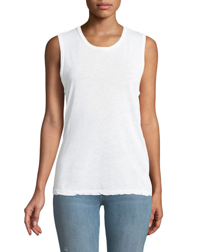 Crewneck Linen-Cotton Muscle Tank