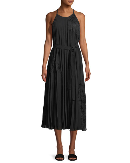 Sleeveless Pleated Cami Dress with Lace