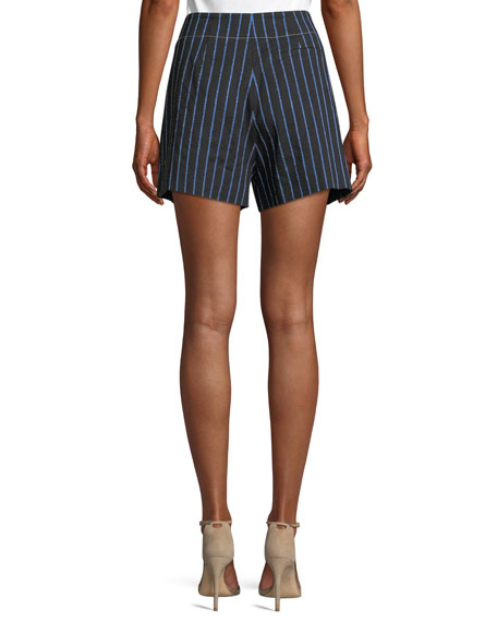 Striped Cotton-Linen Short with Button Detail