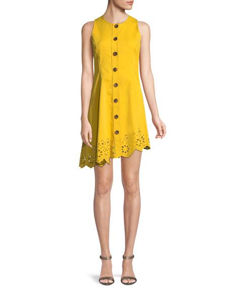 7d0e4b911632c9 Derek Lam 10 Crosby Sleeveless Button-Down Cotton Dress with Scalloped Hem