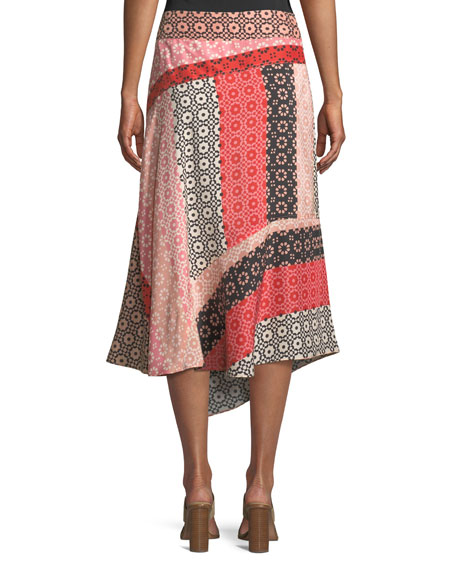 Asymmetrical Geo-Print Silk Wrap Skirt
