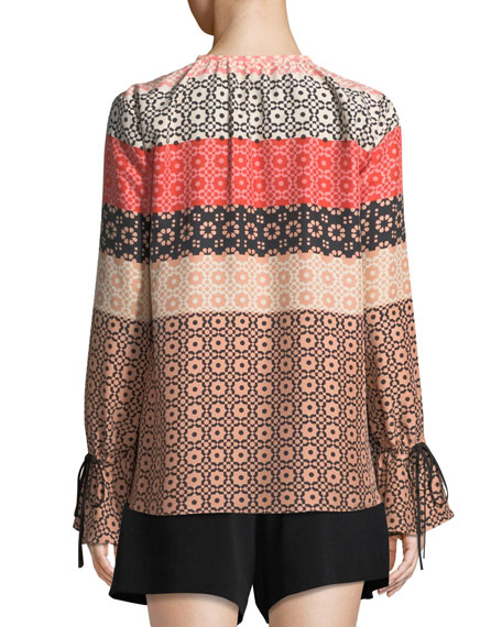 Bell-Sleeve Button-Down Printed Silk Blouse