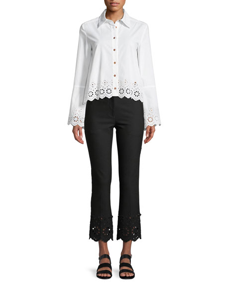 Long-Sleeve Button-Down Shirt with Eyelet Embroidery