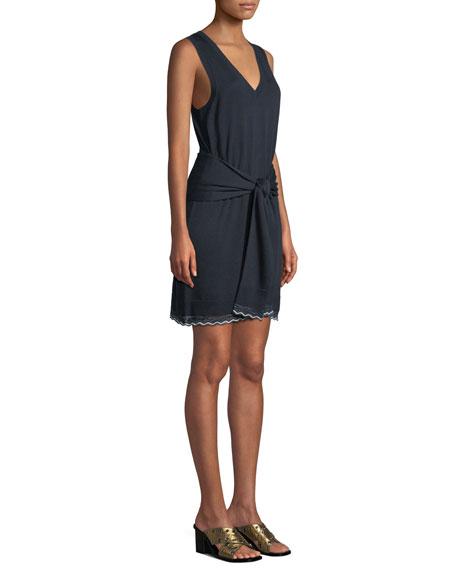 Sleeveless Tie-Waist Knit Mini Dress