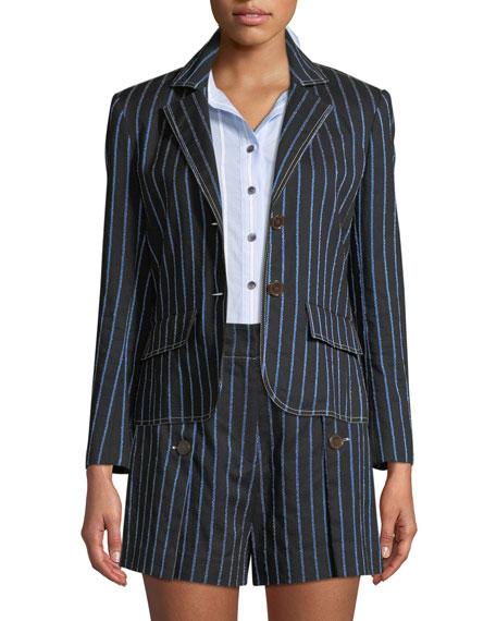 Two-Button Striped Cropped Blazer