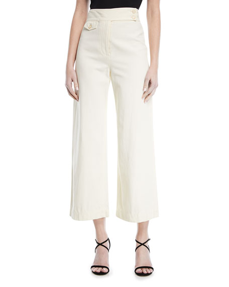 Veronica Beard  CAYMAN HIGH-WAIST WIDE-LEG CROPPED COTTON PANTS
