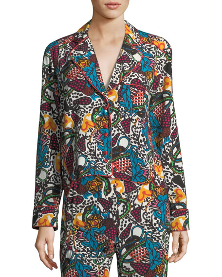 Penelope Button-Front Multi-Print Blouse