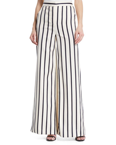 Xena Striped Wide-Leg Cotton Pants