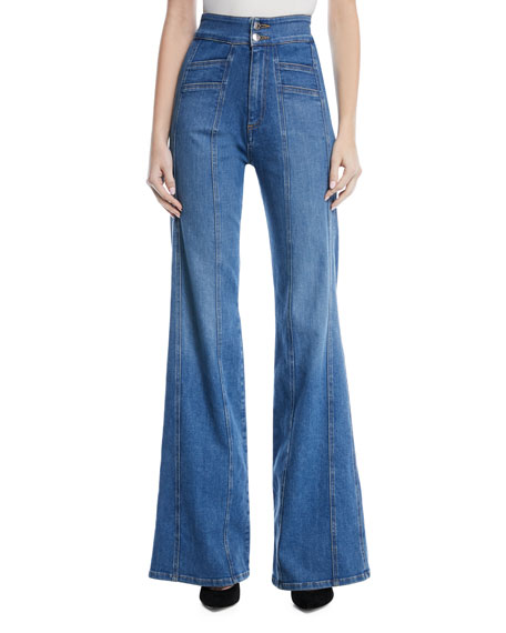 Veronica Beard Farrah High-Waist Wide-Leg Jeans