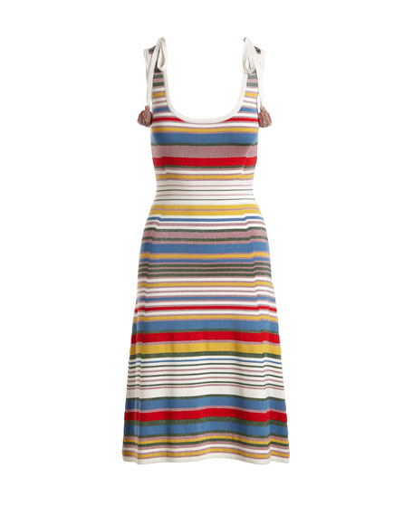 Dulce Metallic Striped Dress