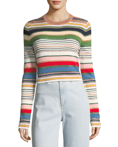 Veronica Beard  PALMAS METALLIC STRIPED SWEATER