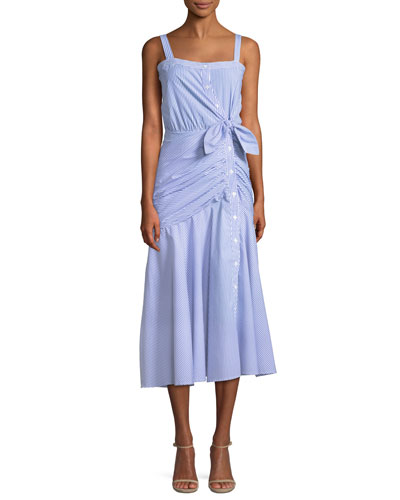 Marena Ruched Button-Front Midi Dress