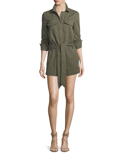 Raquel Zip-Front Long-Sleeve Cotton Romper