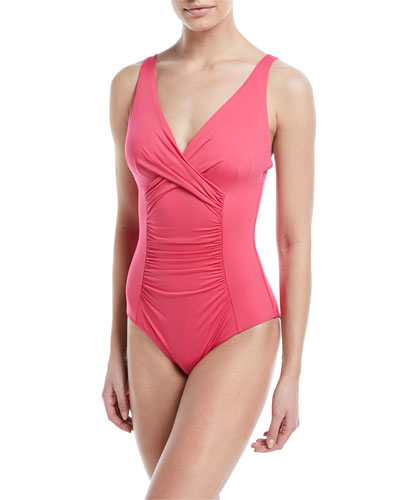 Flora Underwire Ruched One-Piece Swimsuit  E-F Cup