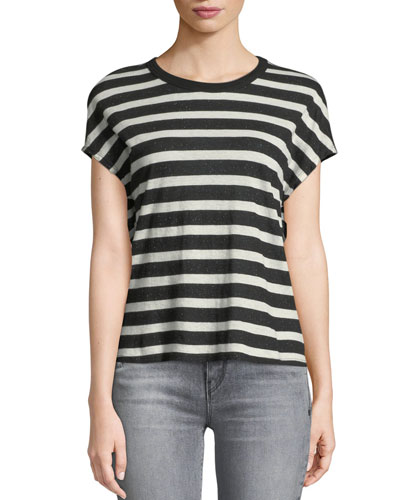 Dawn Crewneck Cap-Sleeve Striped Cotton-Cashmere Top
