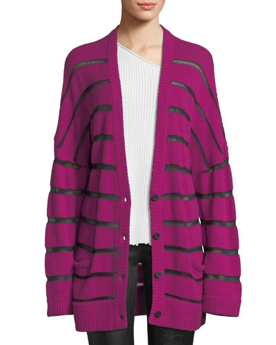 Odella Striped Oversized Cashmere Cardigan