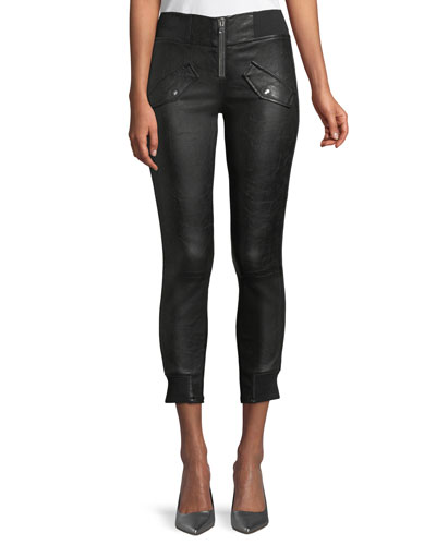 Zelda Skinny-Leg Lambskin Leather Ankle Pants
