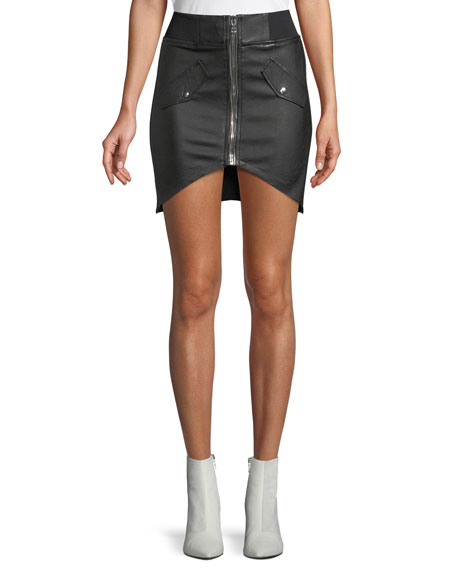 Isla Lambskin Leather Zip-Front Mini Skirt