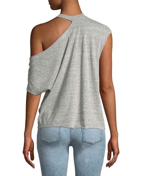 Axel One-Shoulder Heathered Jersey Top