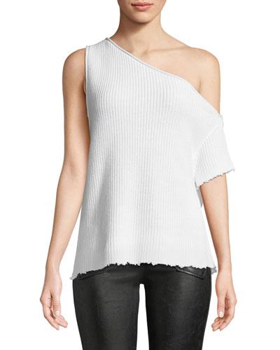 Sloane One-Shoulder Cotton Knit Top