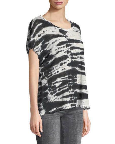 Dawm Round-Neck Short-Sleeve Tie-Dye Linen Top