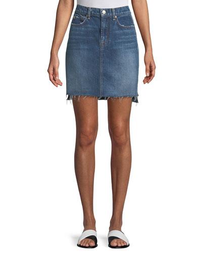 Side-Panel A-Line Denim Skirt w/ Raw-Edge Hem