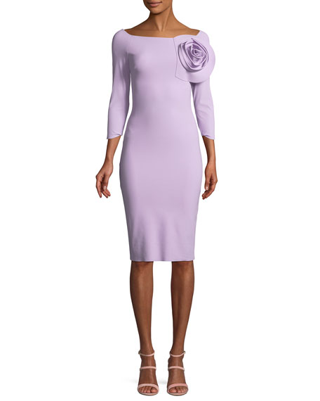 7c8dcd784c9 Chiara Boni La Petite Robe Nyoko 3 4-Sleeve Cocktail Dress w  3D Rose