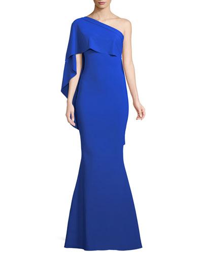 Lamya Asymmetric Mermaid Gown w/ Cape
