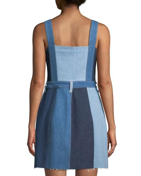Button-Down Sleeveless Patchwork A-Line Denim Dress