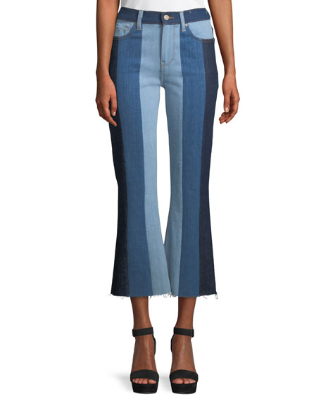 Ali Patchwork Crop Flare Jeans by 7 For All Mankind