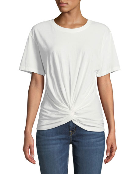 Crewneck Short-Sleeve Knotted-Front Cotton Tee