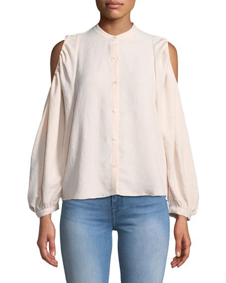 Button-Down Cold-Shoulder Top