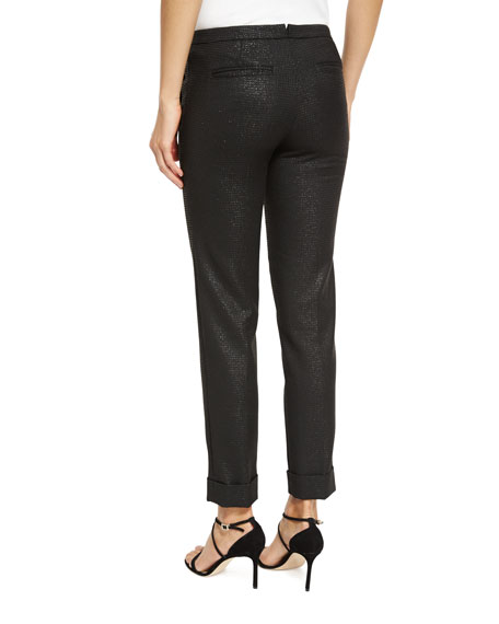 Stretch Sparkle Classic Slim Pants, Black