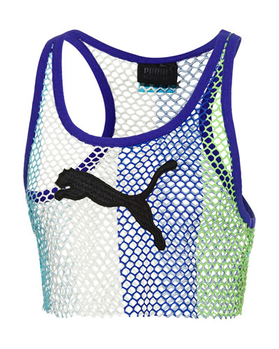 Basketball-Mesh Cropped Tank Top, Blue