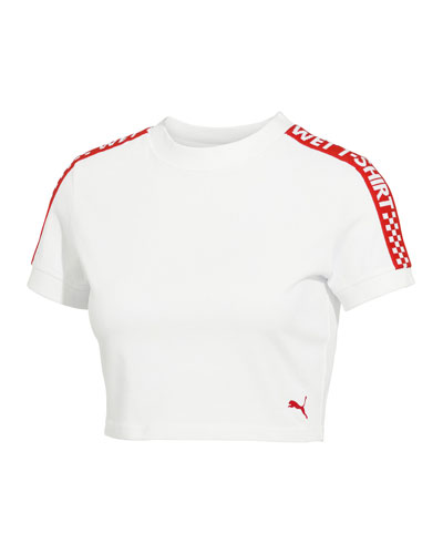 Short-Sleeve Crewneck Cropped Tee w/ Racer Trim