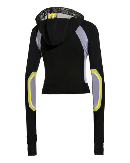 Hooded Mesh Zip-Front Track Jacket